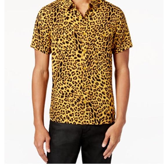 f9e36670fd Guess Men Slim Fit leopard print shirt